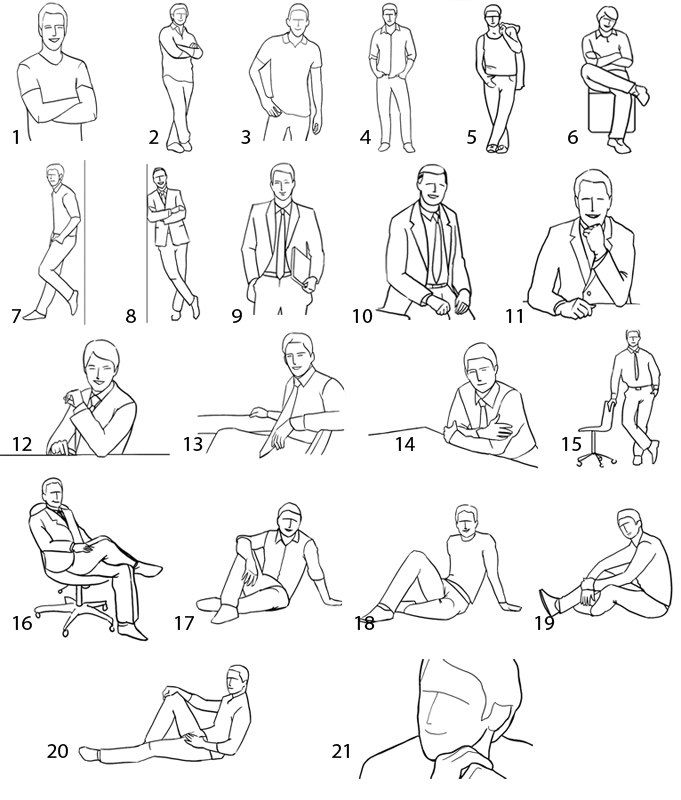 21 poses for men- I took these pics and turned them into a