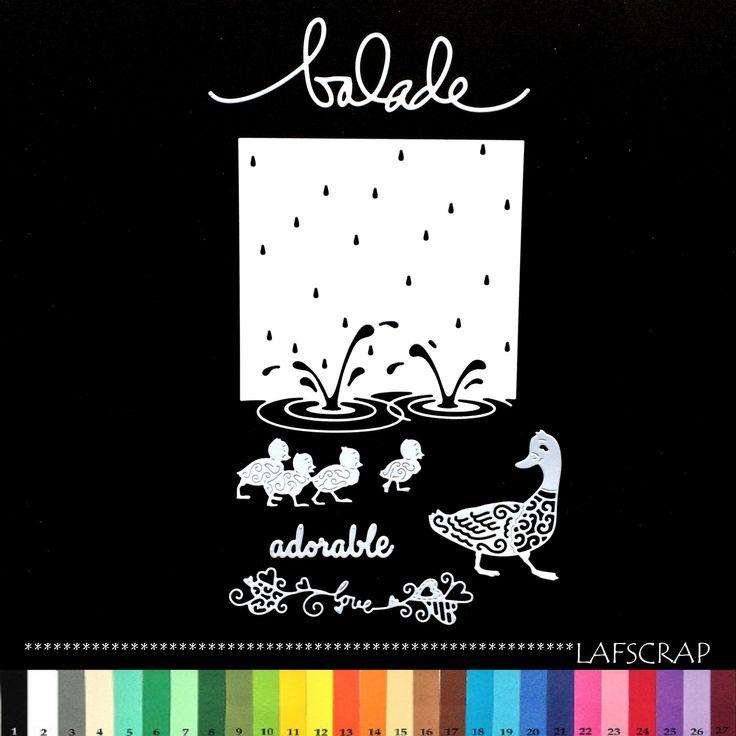 découpes scrapbooking canard bébé animal love amour coeur mot adorable eau mer étang lac balade : Embellissements par lafscrap