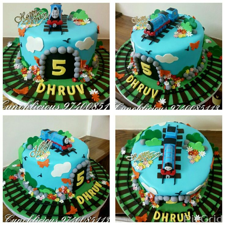 A Thomas the tank Engine series themed cake.....chocolate n vanilla.....all edible....except Gordon the Express Engine topper.....design image provided by the client n modified a lil by me :)