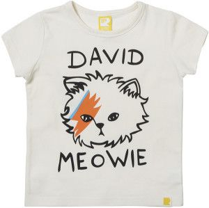 Love it: David Meowie T-Shirt for kids. Wee Birdy's round-up of the 40 Best Design-Led Christmas Presents for Kids, 2014, via WeeBirdy.com. #davidbowie #kidsclothes #cat #giftguide