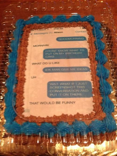 Text Message Birthday Cake - NoWayGirl