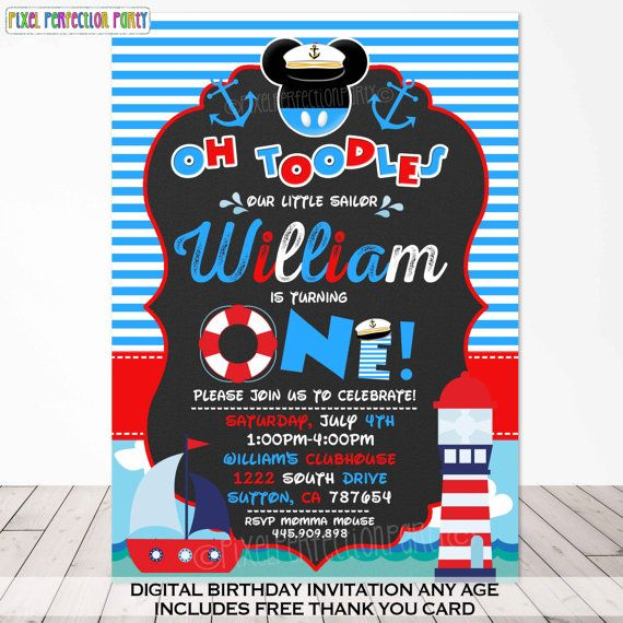 Mickey Mouse Sailor Invitation Mickey by PixelPerfectionParty