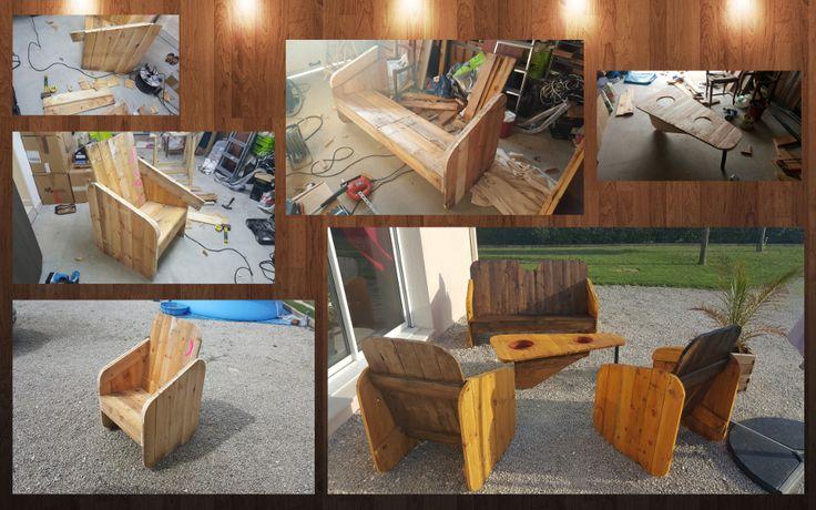 création d\'un salon de jardin avec planche de reste de chantier de ...