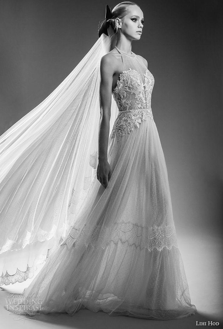 """lihi hod bridal 2017 sleeveless halter neck heavily embellised bodice tulle skirt romantic a line wedding dress open back sweep train (capri) mv -- Lihi Hod 2017 """"Dreams"""" Bridal Collection"""
