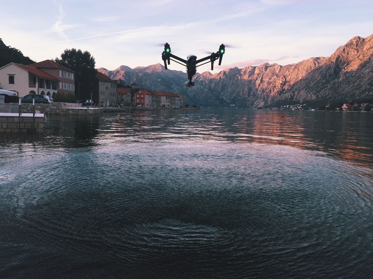 Flying above the waters of Kotor Bay. The DJI Inspire 1 is our go-to kit for international filming.