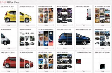 Het Franse automerk Peugeot heeft op verschillende plaatsen delen van foto's geplaatst. Zo verschenen op de Facebookpagina en de website van Peugeot Panama delen van Peugeot's. Het enige dat mensen moesten doen, is het 'pinnen' van afbeeldingen. De eerste vijf gebruikers die een board vol hebben, wonnen een prijs.