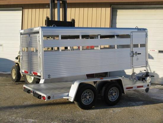 Dual purpose small stock trailer. Aluminum, removable top.