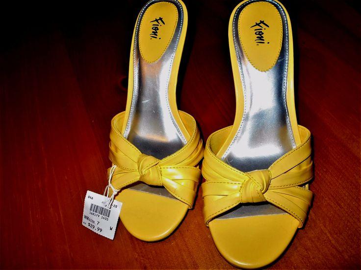 Pretty Sunny Yellow Amarillo Fioni Spring Shoes Margot Sz 7 1/2 W NITB REDUCED** #Fioni #Mules #DressCasualWork