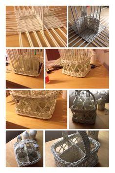 Basket woven from paper rolls -> basket for 4 bottles