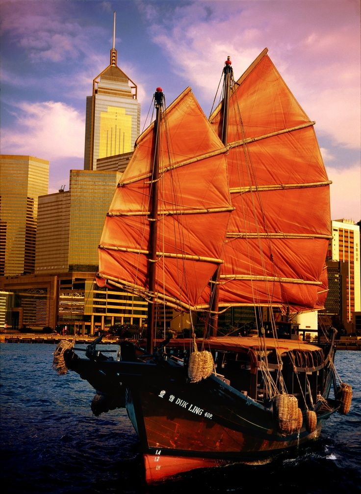 """The """"Duk Ling"""" is the only authentic Chinese Junk that still sails the crystal clear water of Victoria Harbor, Hong Kong"""