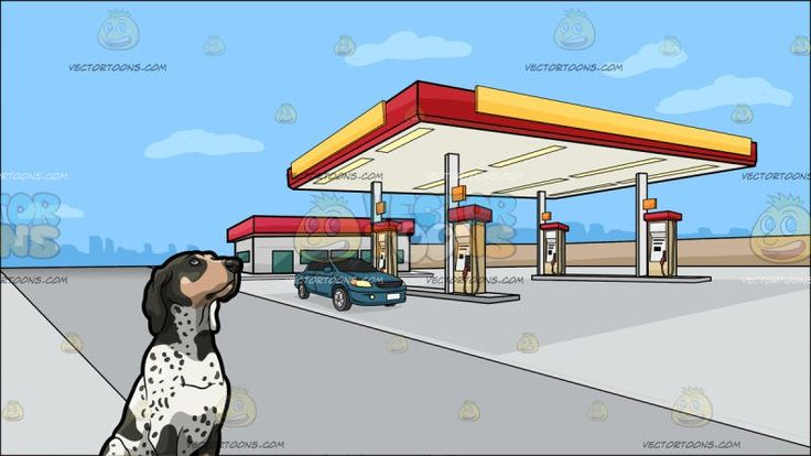 A Spotted Coonhound Pet Dog With A Gas Station On The Outskirts Of Town Background:   A dog with white black and beige spotted fur droopy ears and black nose sits on the floor and slightly looks above to observe and An gasoline station with a red yellow and white roof for shelter gas pump and a nearby store with a red roof just outside the city border
