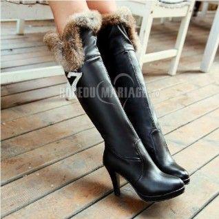Chaussures femme fasion hiver pas cher bottes longue à talons hauts [ROBE208826] ,