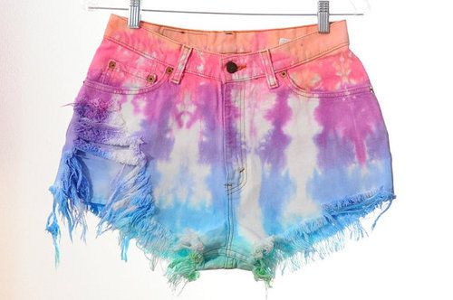 This makes me wanna tie dye somethingBathing Suits, Clothing, High Waisted Shorts, Ties Dyes, Tye Dyes, Jeans Shorts, Denim Shorts, Bright Colors, High Waist Shorts