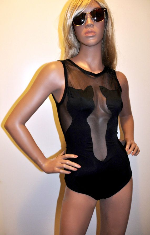 Black Catsuit One-Piece Swimsuit/ Bodysuit by BettyFelonFashions