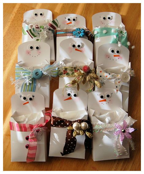 So cute -- Snowman treat pouches! Plus site has lots of other ideas