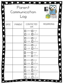 FREEBIE Parent Communication Log
