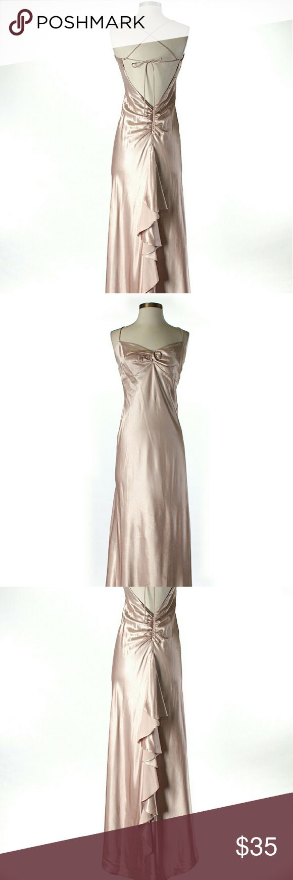 Windsor Silky Champagne Full Length Formal Gown 46 in length  #windsor #champagne #tan #dress #gown #formal #event#formaldress #occasion #event #party #classy #sophisticated #silky #fancy #soft #shiny #strappy #openback #ruffle #ruching #flattering #slimming #valentinesday #neutral #beautiful #comfortable #flowy #anytime #goeswitheverything  M5 WINDSOR Dresses Maxi