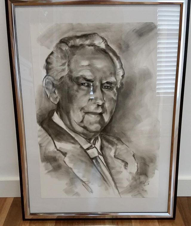 My portrait of grandad got framed today. #drawing#portrait#charcoal#pastel#grandfather#portraiture