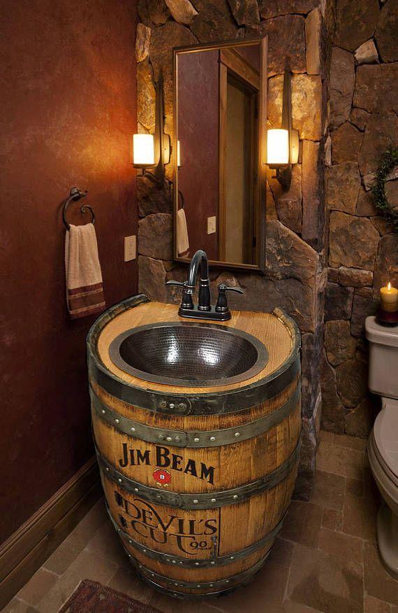 whiskey barrel sink hammered copper rustic antique bathroom rh pinterest com
