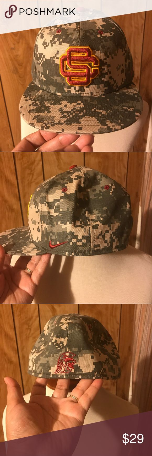 "Nike USC Trojans digital Trojans hat NIKE USC TROJANS hat  MEN'S SIZE: 7 3.8FITTED BRAND NEW..never worn..WITH TAG color: DIGITAL CAMO 100% AUTHENTIC * DIGITAL CAMO design * ""SC"" logo embroidered on front. * Swoosh embroidered on side of hat. * ""Trojans "" signature embroidered on back * embroidered air holes on top of hat. Nike Accessories Hats"