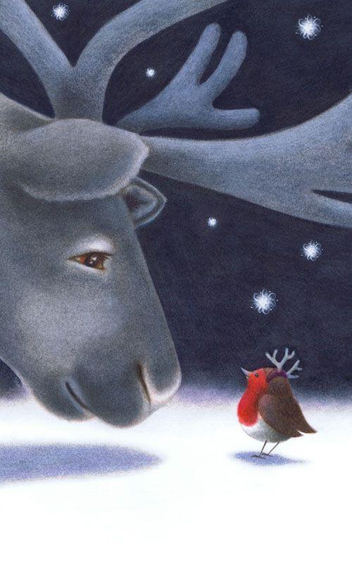winter scenes snow images illustrations christmas reindeer robin imagenes nieve