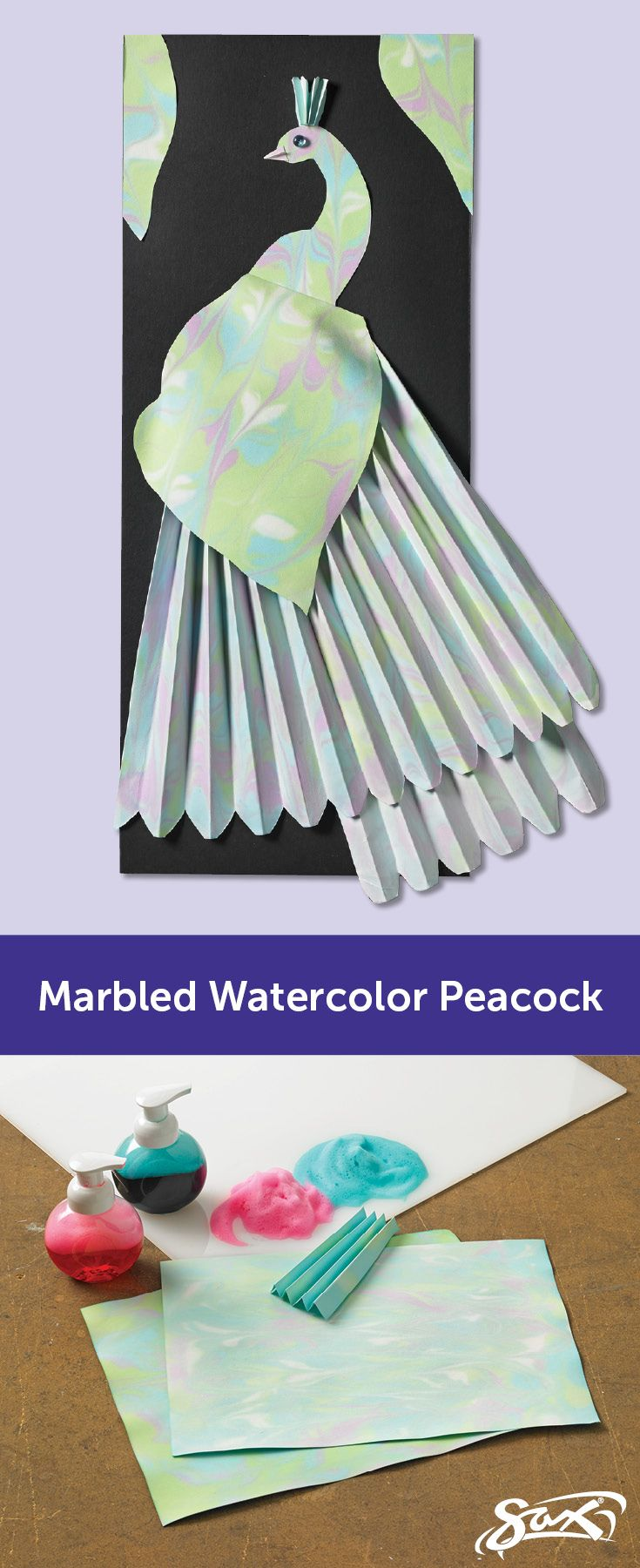 Create and use marbled watercolor paper to create your own peacock through paper folding and manipulation. Lesson plan includes objectives, correlations to National Core Arts Standards, grade levels and  complete directions and art supplies list. Created by our Sax Art Consultants.