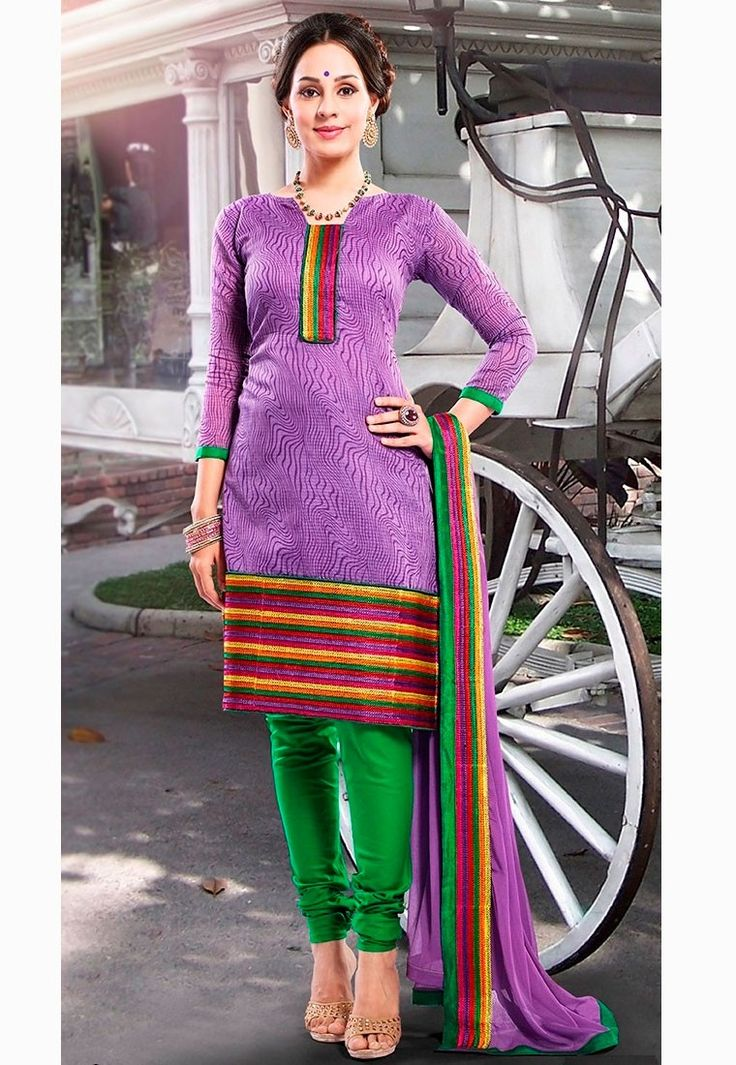 """The #man who moves a mountain begins by carrying away small stones."" Purple #Color Cotton Designer #Salwaar Kameez"
