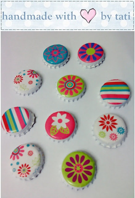 spray paint bottle caps, use kid favorite stickers & you can stick major strong magnets to back for magnet boards.