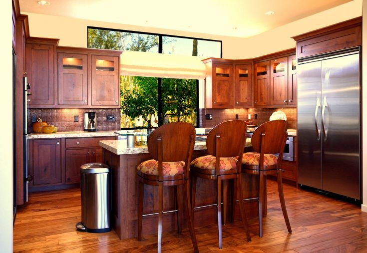 In small custom kitchen: Rustic cherry cabinets with copper tile backsplashes, granite counters, Br