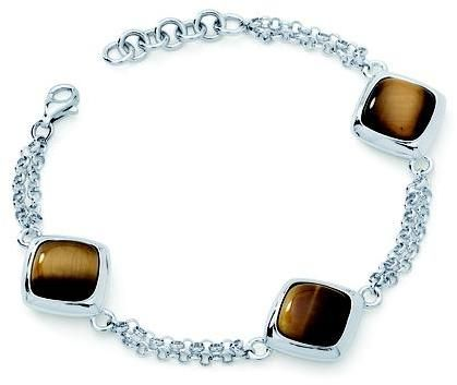 "Boston Bay Diamonds Sterling Silver Bracelet with Tiger Eye Gemstones and Double Rollo Chain adjustable between 7.5"" & 6.5"" and Lobster Claw Clasp"