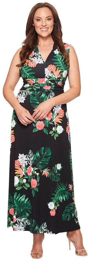 Vince Camuto Specialty Size Plus Size Sleeveless Havana Tropical Halter Maxi Dress