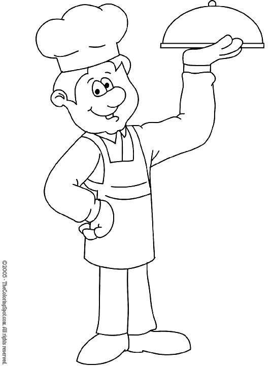 okul öncesi meslekler boyama sayfası aşçı
