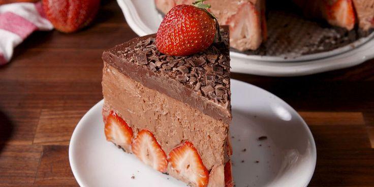 Best Strawberry Chocolate Mousse Cake Recipe - How to Make Strawberry Chocolate Mousse Cake