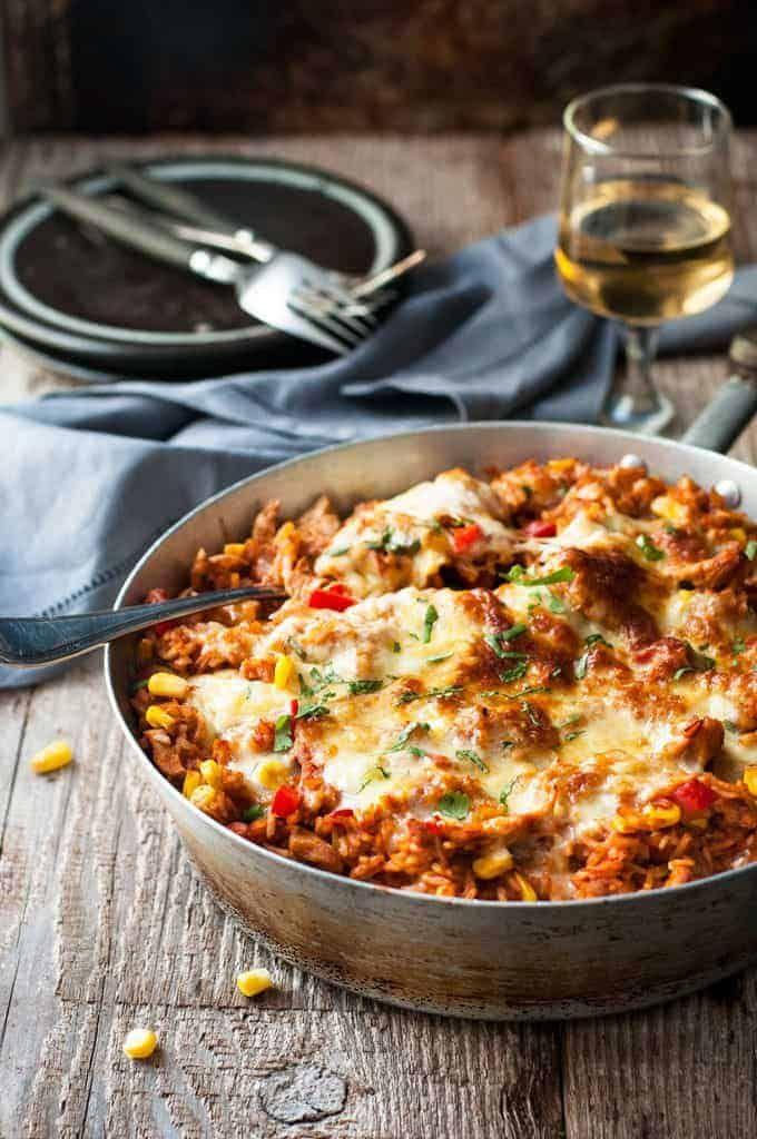 One Pot Chicken Enchilada Rice Casserole Recipe Enchilada Rice Recipetin Eats One Pot Meals