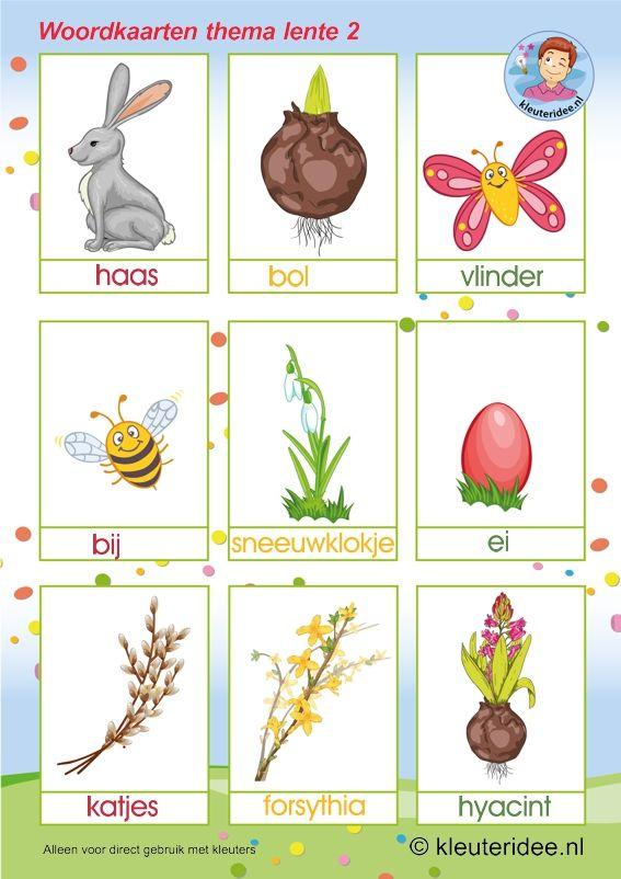 Woordkaarten , thema lente 2, kleuteridee,preschool spring words, free printable