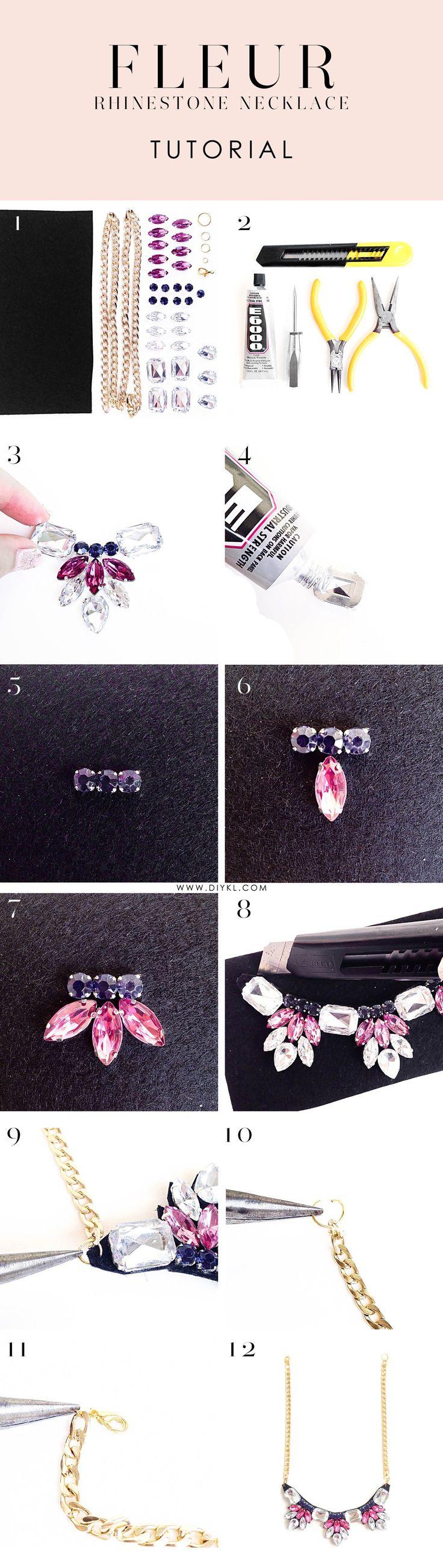 DIYKL FLEUR rhinestone necklace. Shop corresponding DIY kits from DIYKL (www.diykl.com)! Enjoy worldwide shipping.