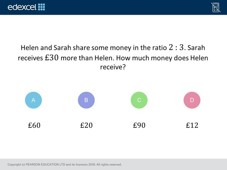 Sharing in a Ratio (Foundation/Higher): GCSE Maths Question of the Week on Mr Barton Maths
