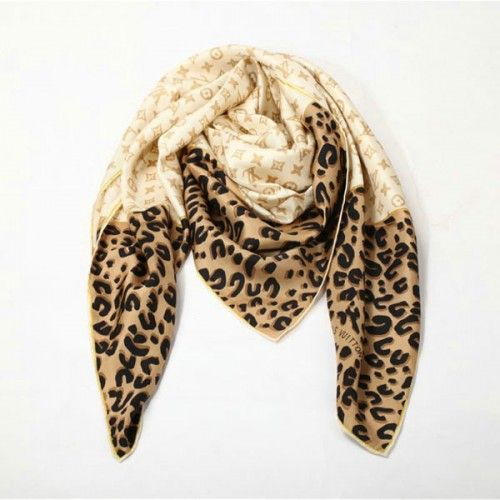 Louis Vuitton Scarf Monogram Square Silk Leopard Print