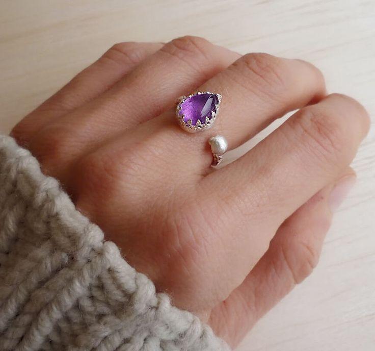 Amethyst Ring - Sterling Silver & Fine Silver Amethyst Ring - February Birthstone Ring