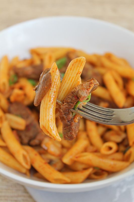 Spicy Korean Penne Pasta with Beef. Korean and italian