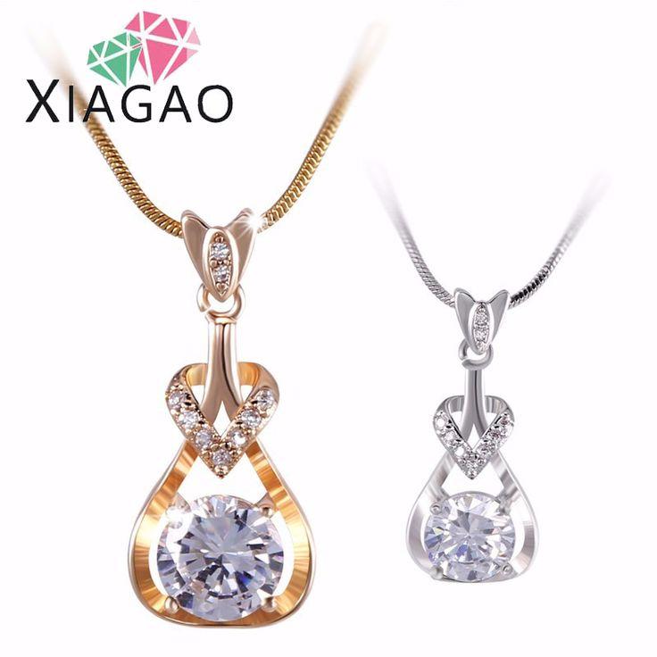 XIAGAO Design Women Knot Necklace  White Gold-color Labradorite Pendant Long Chain Necklace Collana