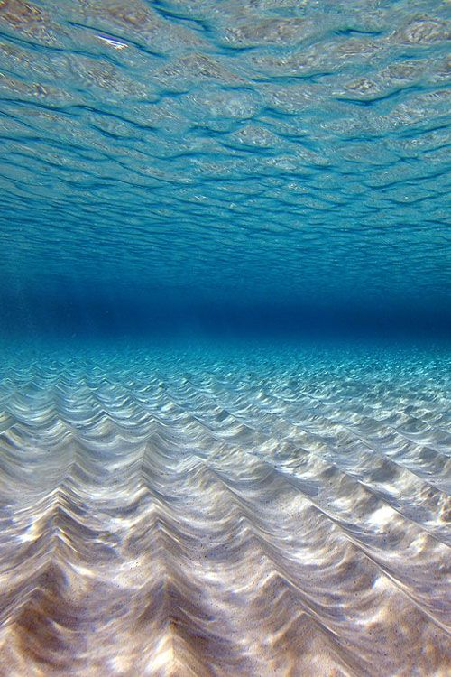 Waves, sand, light patterns.
