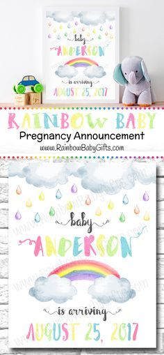 Pastel Rainbow Watercolor Rainbow Baby Pregnancy Announcement Sign by RainbowBabyGifts https://www.etsy.com/ca/listing/459282170/rainbow-baby-pregnancy-announcement-sign