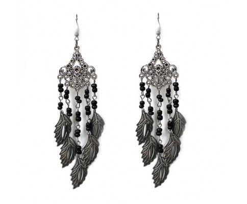 Dlhé náušnice s lístkami čierne. Black vintage chandelier jewelry. #womanology #jewelry #accessories #vintageearrings #chandelierearrings