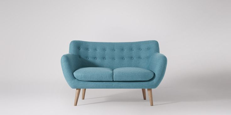 Swoon Editions Two-seater sofa, Mid Century style in powder blue - £499