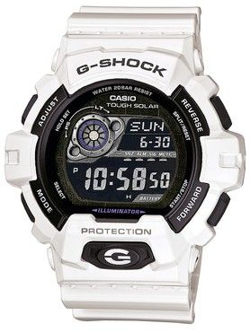 Casio White G-Shock Watch Solar Powered World Time GR-8900A-7ER.See G Shock tough solar watches: http://www.watcho.co.uk/watches/casio/g-shock-watches/g-shock-tough-solar-watches.html