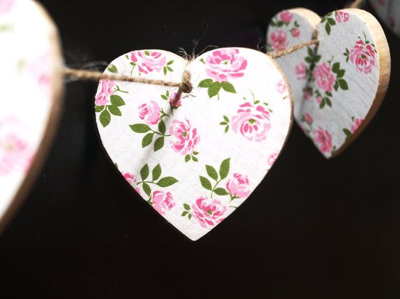 Bunting, Wooden Bunting, Garland, Heart Bunting, Decoupage, Wooden Hearts, Pink, Room Decor, Party Decoration, Pink Bunting, Girls Bedroom by CupfulofTrinkets, £10.50