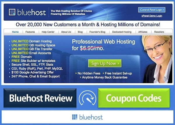 Bluehost Coupon Codes Discount 2016 - In detailed Bluehost review & Bluehost coupon, promo codes - It's the best dedicated secure web hosting providers for WordPress blog. Use these promo codes, deals, discount, coupons to get unlimited bandwidth dedicated server, free domain, unlimited space & email. Best hosting option for high traffic websites & cloud server reviews.