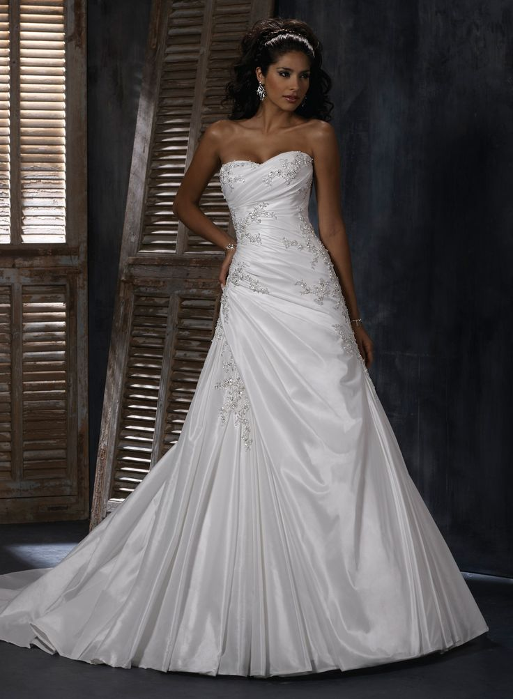 Bordeaux Taffeta Soft Sweetheart Neckline A-line Wedding Dress - Wedding Dresses UK Online Shop