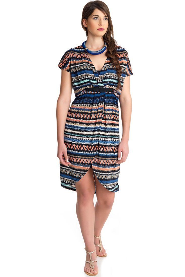 Jurk Mat overslag met rits detail::jurken::Grote maten - mode online | Gratis verzendig | Bagoes fashion